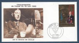 République Centrafricaine - FDC - Premier Jour - Timbre Or - Bangui - Thématique De Gaulle - 1990 - De Gaulle (General)