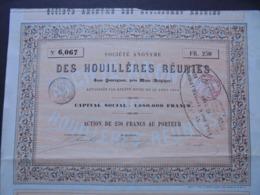 BELGIQUE - QUAREGNON PRES MONS 1854 - SA DES HOUILLERES REUNIES - ACTION DE 250 FRS - Aandelen
