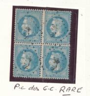 N° 29 BLOC DE 4 TIMBRES P.C. DES G.C.RARE - 1863-1870 Napoléon III Lauré