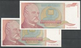 Yugoslavia 2 Banknotes Inflation 500 Billion / 500 Milliards Dinara - Printing Error On One Banknote 1993 - Jugoslawien