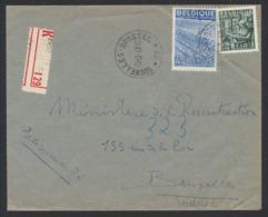 """Exportation - N°768 Et 771 Sur Lettre En R + Obl Agence """"Bruxelles - Brussel 53"""" (1949) Vers Bruxelles. - 1948 Export"""