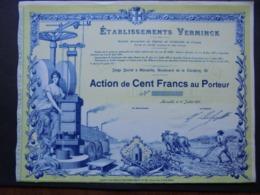 FRANCE - MARSEILLE 1917 - ETS VERMINCK - ACTION DE 100 FRS - TITRE NON EMIS - BELLE ILLUSTRATION - Aandelen