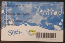 TICKET - ENTRADA ACUARIO DE GIJÓN. ESPAÑA. - Tickets - Entradas
