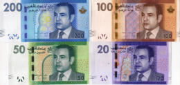 MOROCCO Complete Set Of Dihrams, 20, 50, 100 And 200, UNC - Marokko