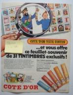 Pub Côte D'Or Autocollants Cahiers Tintin Haddock. - Spirou 1979. - Publicités