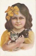 """""""Pretty Little Girl With Het Kittens"""" Lovely Spanish Postcard 1930s - Niños"""