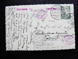 """Old Post Card Carte Sent From Latvia On 1935 Aluksne """"will Not Pay"""" Cancel Riga Lake - Lettland"""