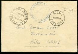 1944 CAMEROUN FRANCAIS LIBRE à DOUALA. Enveloppe En F.M. + Cachets (Voir Description) + Censure - WW II