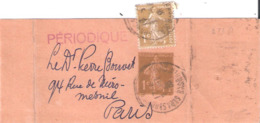 1c.semeuse Camée Entier Bande Journal + 1c.semeuse Camée - Postmark Collection (Covers)