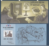 France - Bloc Souvenir - L'appel Du 18 Juin 1940 - 70 ème Anniversaire - Général De Gaulle - 2010 - Souvenir Blocks & Sheetlets