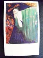 Old Post Card Carte Sent From Latvia On 1930 Jelgava Art Painting Gasparini Milano Woman Incukalns - Lettland