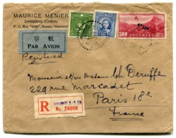 RC 14519 CHINE 1938 LETTRE RECOMMANDÉE DE SHANGHAI PAR AVION POUR PARIS FRANCE - CHINA TB - 1912-1949 Republic