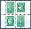 France  - 2014 - Timbres Issus De Carnet - Lettre Verte - Semeuse/Cérès  - Bloc 4 -  Neuf ** - MNH  - - Unused Stamps