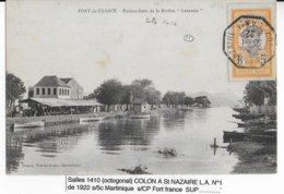1922 - MARITIME - CP Avec CACHET OCTOGONAL De COLON à ST NAZAIRE L.A.N°1 De FORT DE FRANCE (MARTINIQUE) => LANGEAIS - Marcophilie (Lettres)