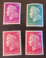 Marianne Cheffer - 4 Timbres Neufs** Dont Variétés N° Rouge Au Verso Et Bandes Phosphore - Voir Détails - 1967-70 Marianne Of Cheffer