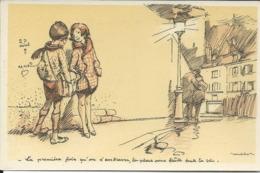 """Illustrateur Poulbot-La Premiere Fois Qu'on S'embrasse -""""Zozo Montmartre 16. - Poulbot, F."""