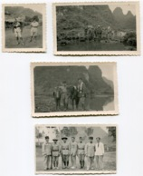 RC 14521 INDOCHINE 1934 ENSEMBLE DE 4 PHOTOS MILITAIRES FRANÇAIS ET SOLDATS ANNAMITES EN RECONNAISSANCE TOUTES LÉGENDÉES - Krieg, Militär