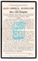 DP Alice Cornelia Beddeleem / Vancayzeele 14j. ° Poperinge 1907 † Abele 1922 - Imágenes Religiosas