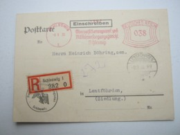 Firmen Freistempel , Meterstempel Auf Beleg Aus Schleswig 1930 , Als Einschreiben - Briefe U. Dokumente