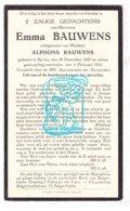 DP Emma Bauwens ° Eeklo 1889 † 1933 X Alphons Bauwens / Begr. Balgerhoeke - Imágenes Religiosas
