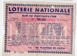 Loterie Nationale : Bon De Participation Offert Par AU PLANTEUR DE CAIFFA  1934  (PPP21122) - Loterijbiljetten