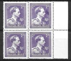 OBP693, In Blok Van 4, Postfris**, Met Grote Donkere Vlek Rechts Onder 2F In Zegel 2 - Errors And Oddities