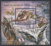 K704. Comores - MNH - 2011 - Nature - Animals - Birds - Owls - Bl. - Planten