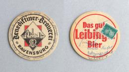Sous-bock Bière Brauerei Benediktiner Ravensburg Timbre 1961 Beer Mat Bierdeckel Coaster - Sous-bocks
