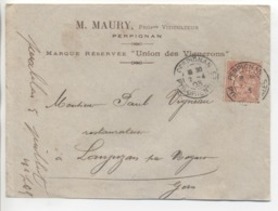 """PERPIGNAN: Daguin Jumelé """" A3 + A3 """"/ LSC M. Maury Viticulteurs  De 1903 - Marcofilie (Brieven)"""