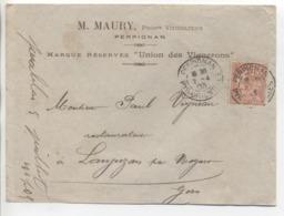 "PERPIGNAN: Daguin Jumelé "" A3 + A3 ""/ LSC M. Maury Viticulteurs  De 1903 - Postmark Collection (Covers)"