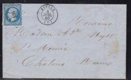 France, Ardennes - Pc 146 D'Asfeld Sur LAC De 1860 - Indice 9 - Storia Postale