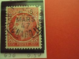 """1945-47 CERES De Mazelin, Timbre N°676    Oblitéré, """"  1f Rose Rouge   """"     Net  0.50 - 1945-47 Cérès De Mazelin"""