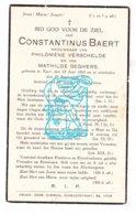 DP Constantinus Baert ° Ieper 1863 † 1937 X P. Verschelde Xx M. Seghers - Imágenes Religiosas
