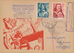 Nederland - Nederlands Indië - 1936 - Openingsvlucht 4x Per Week Naar Indië - Trajectpost Naar Colombo - Indes Néerlandaises