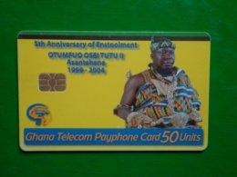 Télécarte Ghana, Gt Damba 5th Anniversary Utilisé, Traces,  Numéros Rouge , état Courant - Ghana
