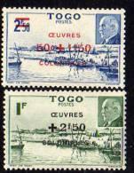 Togo N°  226 / 27 X  :  Baie De Mono Et Effigie Du Mal Pétain Surch Oeuvres Coloniales La Paire Trace De Charn. Sinon TB - Ohne Zuordnung