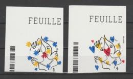FRANCE / 2015 / Y&T N° AA 1082/1083 ** : Coeurs De Castelbajac (2 TP De Feuilles Adhésives) X 1 CdF Sup G - Luchtpost