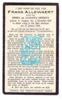 DP Frans Allewaert / Demets 20j. ° Izegem 1905 † 1926 - Imágenes Religiosas