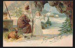 KERSTMAN MET ENGELTJE EN HINDE    RELIEF  GAUFRE - Santa Claus