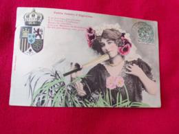 CARTE POSTALE ANCIENNE  BERGERET COLORISEE PETITE FEMME  D ALGESIRAS - Bergeret
