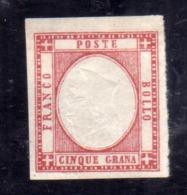ITALIA REGNO ITALY KINGDOM PROVINCE NAPOLETANE 1861 VARIETÀ VARIETY VITTORIO EMANUELE II 5 GRANA MLH FIRMATO SIGNED - 1861-78 Victor Emmanuel II.