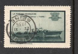 "VIGNETTE MARINE NAT. CONTRE TORPILLEUR ""TIGRE"" OBL. ASNIERES SEINE 22 XI 1935 - Military Heritage"