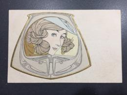 Art Nouveau - Volto Di Donnina Liberty Con Cornice Oro In Rilievo - Edizione OPF - Illustratori & Fotografie