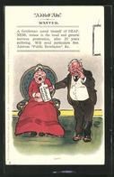 Künstler-AK Addled Ads Wanted, A Gentleman Cured Himself Of Deafness, Mann Gibt Seiner Frau Ein Schlafmittel - Humour