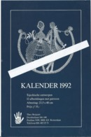 NL.- Folder KALENDER 1992. Tjechische Ontwerpen 12 Afbeeldingen Met Patronen. Theo Brejaart. Rotterdam - Reclame