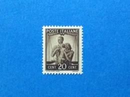 1945 ITALIA FRANCOBOLLO NUOVO STAMP NEW MNH** DEMOCRATICA 20 CENT - 6. 1946-.. Repubblica