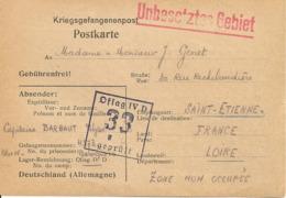 UNBESETZTES GEBIET- 1940 Prisonniers De Guerre- Destination Saint Etienne - Marcophilie (Lettres)