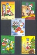 Nfe289 WALT DISNEY KERSTMIS DONALD TREE SLED SINGING MOTHS CHRISTMAS GRENADA 1984 PF/MNH - Disney