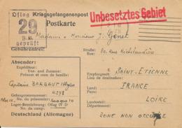 UNBESETZTES GEBIET- 1940 Prisonniers De Guerre- Destination Saint Etienne - Marcofilia (sobres)