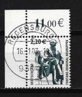 BUND Mi-Nr. 2307 Linkes, Oberes Eckandstück Fontane-Denkmal, Neuruppin Gestempelt REGENSBURG - BRD